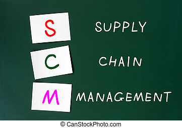 Acronym of SCM for supply chain management on a green...