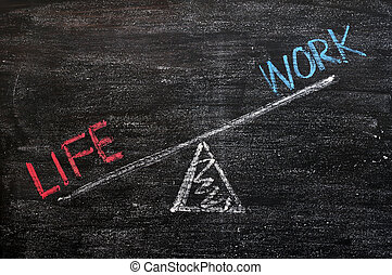Balance of Life and work on a wooden blackboard - Balance of...