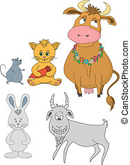 Set cartoon animals: cow, cat with sausage, mouse, goat,...