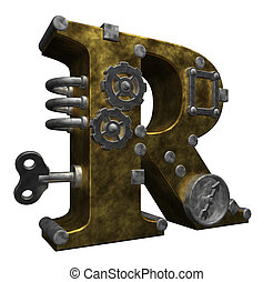 steampunk letter r on white background - 3d illustration
