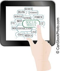 text keywords on social media themes tablet pc - text...