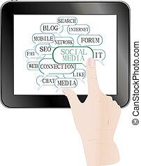 text keywords on social media themes. tablet pc
