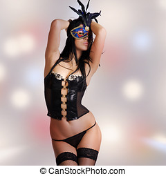 kinky woman with venetian mask and lingerie - kinky woman...
