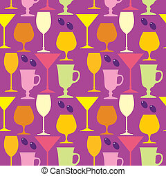 Seamless wine glasses pattern - Vector illustration. It is...