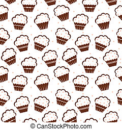 Seamless cupcake pattern - Vector illustration. It is...