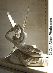 sculpture Cupid and Psyche by Antonio Canova - marble...
