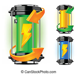 Cylinder of alternative energy in green color and arrows,...