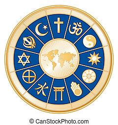 mundo, mapa, mundo, religiões
