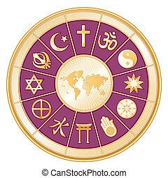 mundo, religiões, mundo, mapa