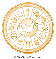 World Religions, Dove of Peace - World Religions surrounding...