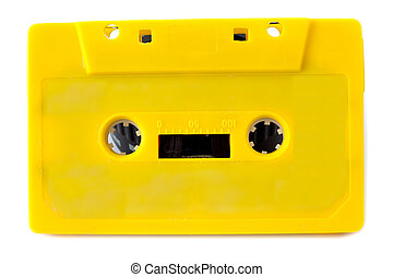Yellow tape - Yellow audio cassette on white background