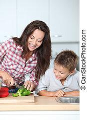 mãe, Cozinhar, filho, cozinha