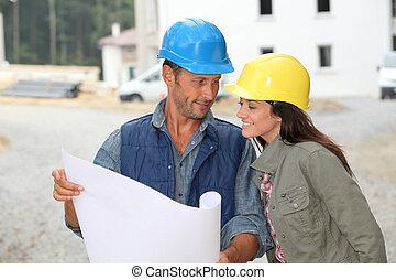 verificar, equipe, planos, Arquitetos, local