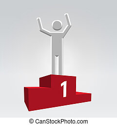 Winner on pedestal icon - Silver glossy abstract man on...