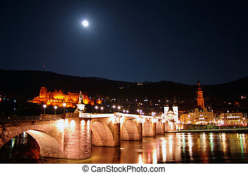 Old Bridge, Neckar, Castle and Moon at night, Heidelberg,...