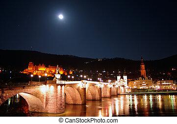 Old Bridge, Neckar, Castle and Moon at night, Heidelberg,...
