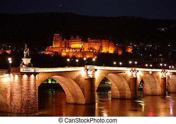 Old Bridge, Neckar, Castle at night, Heidelberg, Germany
