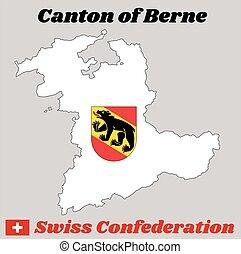 cantón, chamarra, suiza, berna, contorno, brazos, mapa