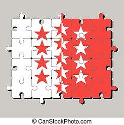 cantón, confederation., suiza, flag., rompecabezas, wallis, rompecabezas