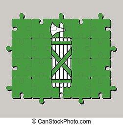cantón, confederation., suiza, gallen, flag., rompecabezas, s.