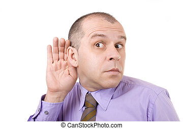 Can\'t hear! - Middle aged businessman holding hand on his...