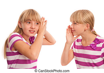 Can't hear well concept - Can't hear me - teen girl speaking...