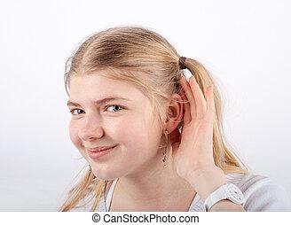 Can't hear you - Beautiful blonde girl can't hear you - she...