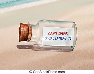 can't speak local language message in a bottle isolated on beautiful beach