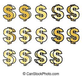 canta, dólar, ouro