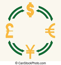 canta, libra, iene, câmbio, -, moeda corrente, dólar, euro, mundo