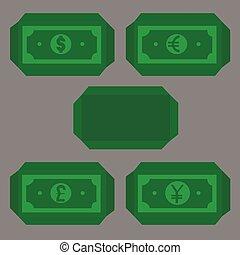 canta, maioria, libra, iene, envelope dinheiro, moeda corrente, papel, dólar, popular, mundo, euro