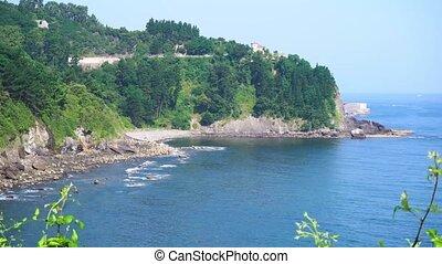 Cantabrian Sea coast - view of Cantabrian Sea green coast,...