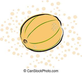 Cantaloupe - A cantaloupe on a polka dot background....