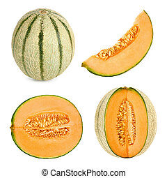 cantaloupe, knippen, anders, gedaantes, 4, meloen