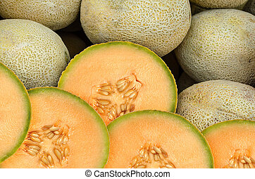Cantaloupe Melon - Cantaloupe melon pieces on a weekly fruit...