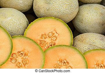 Cantaloupe Melon - Cantaloupe melon pieces on a weekly fruit...