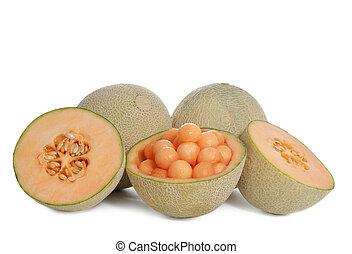 cantaloupe melon fruit, isolated on white background