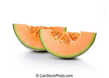 cantaloupe melon isolated on white background