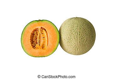 cantaloupe melon isolated on white background.