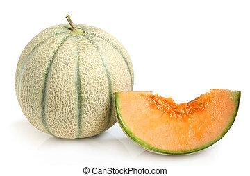 Cantaloupe melon on a white background