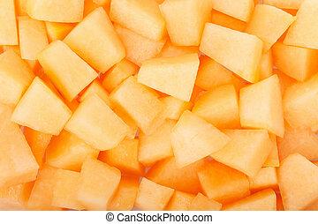 Cantaloupe melon pieces texture