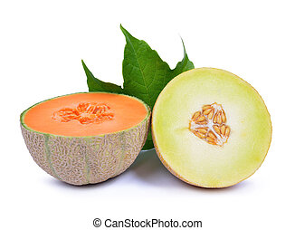 Cantaloupe melon with green leaf