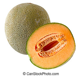 Cantaloupe - One and a half cantaloupe fruit isolated on...