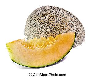 Cantaloupe or Charentais melon isolated on white