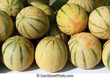 Cantaloupe rock melon muskmelon spanspek stacked on market