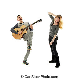 cantando, adolescentes, dançar