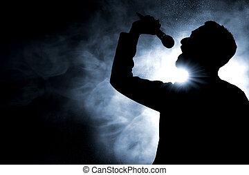 cantando, cantor, silueta