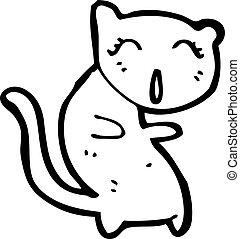 cantando, caricatura, gato