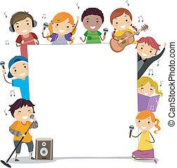 cantando, classes, crianças