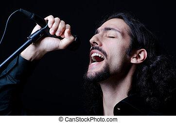 cantando, concerto, homem